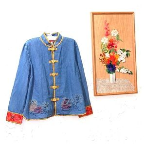🌴 Denim Asian Inspired Embroidered Jacket